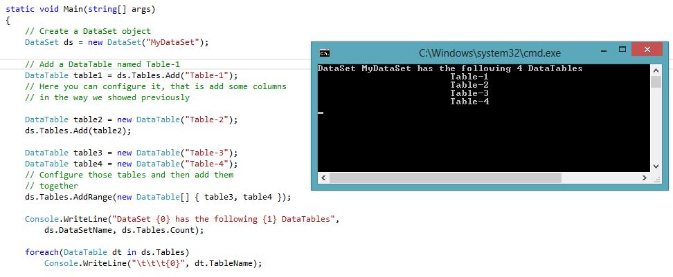 ADO NET : Working with DataSet, DataTable, DataColumn