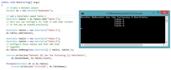 ADO NET : Working with DataSet, DataTable, DataColumn, DataRow and