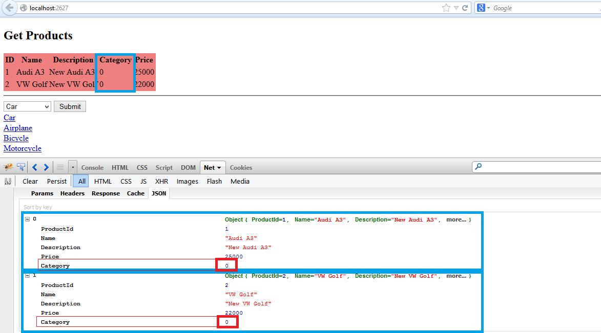Retrieve JSON data from MVC Controllers in ASP NET MVC