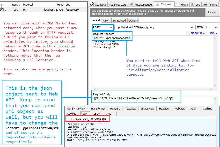 Web API basic CRUD Operations following HTTP principles